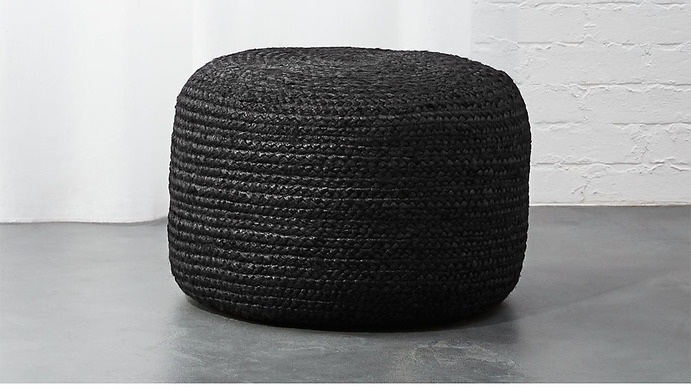 Black Braided Jute Pouf - Image 1 of 5