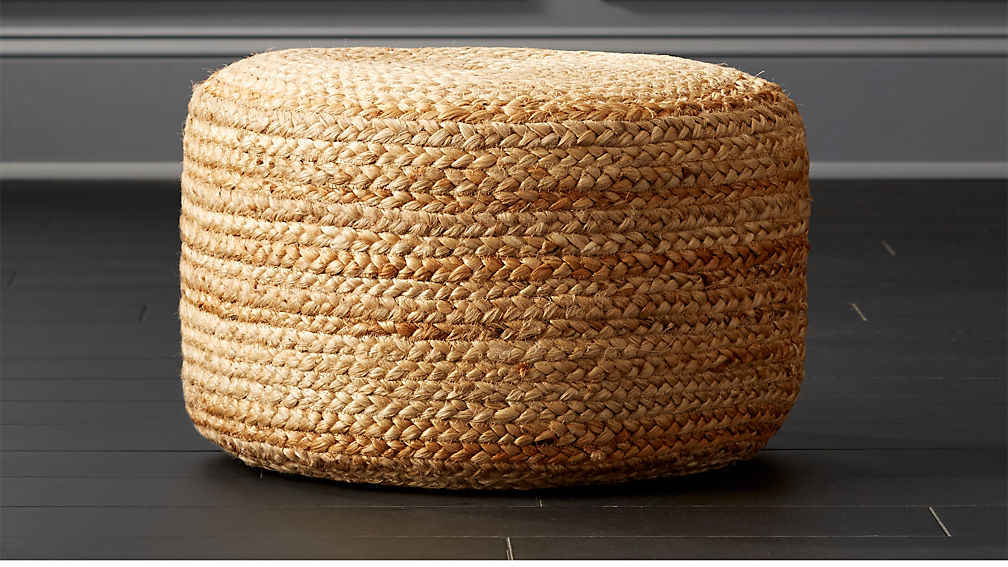 Braided Jute Pouf - Image 1 of 7