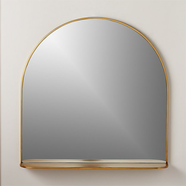 Brass Arched Mirror with Shelf - Image 1 of 6