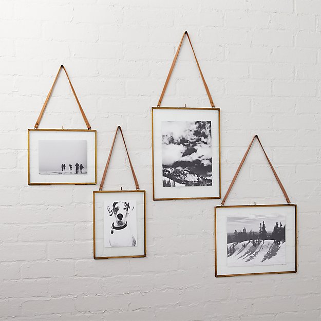 brass floating picture frames | CB2