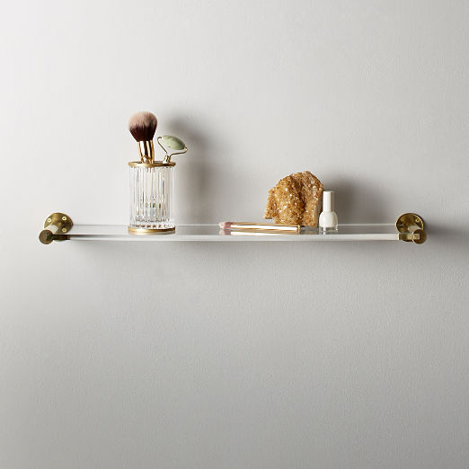 Brass and Acrlyic Wall Shelf 24""