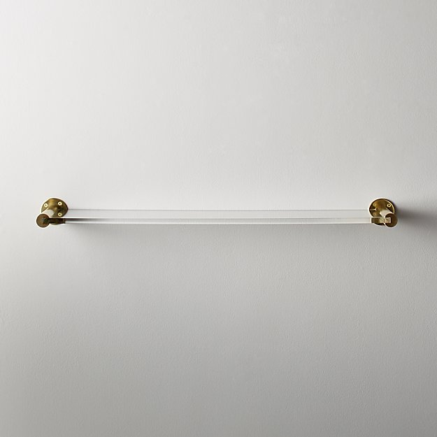 """Brass and Acrlyic Wall Shelf 24"""" - Image 1 of 4"""