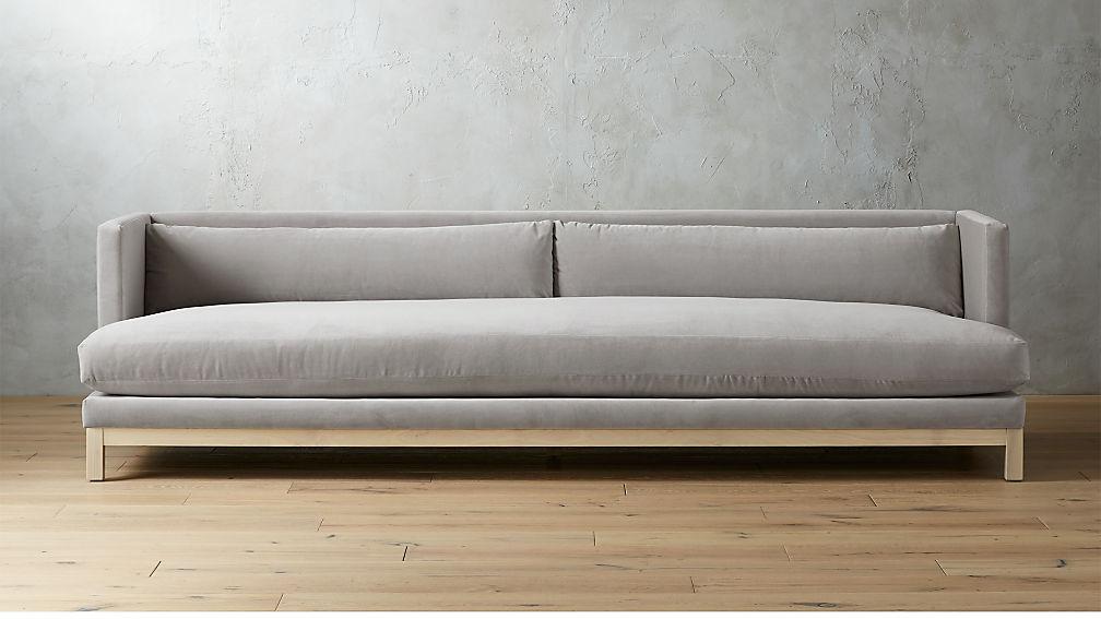 Brava Sharkskin Light Grey Velvet Sofa With White Wash Base Reviews Cb2