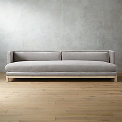 Brava Sharkskin Light Grey Velvet Sofa With White Wash Base