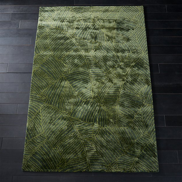 Brooke Green Palm Frond Rug Cb2