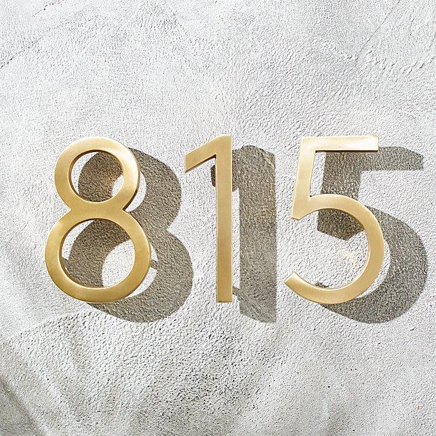 aurele 6 brushed brass house numbers cb2