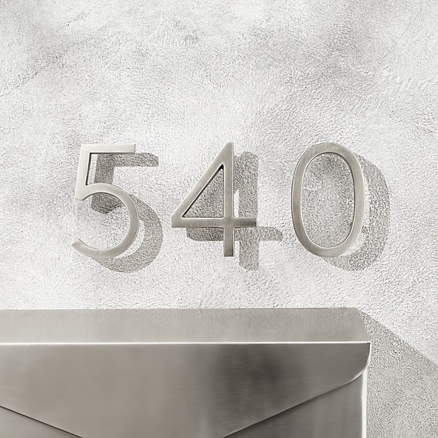 "Aurele 4"" Brushed Nickel House Numbers - Image 1 of 12"