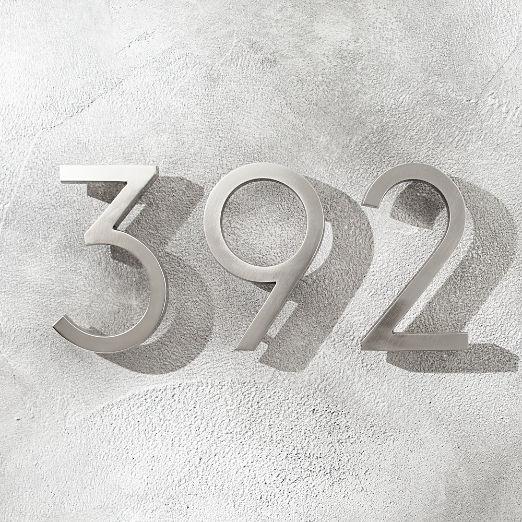 """Aurele 6"""" Brushed Nickel House Numbers"""