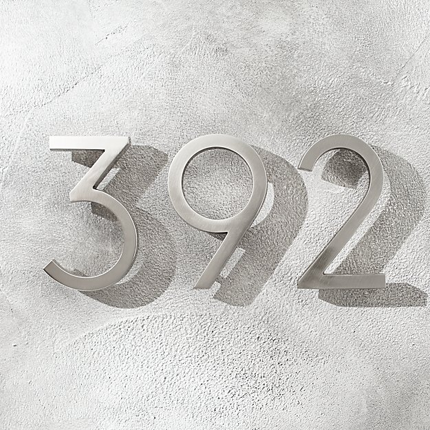 """Aurele 6"""" Brushed Nickel House Numbers - Image 1 of 12"""