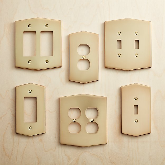 Hex Brushed Brass Wall Plates - Image 1 of 7