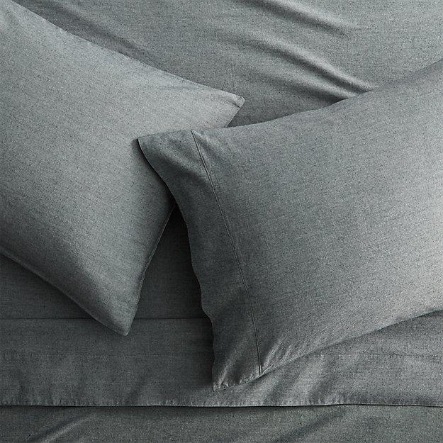 Brushed Flannel Black White Full Sheet Set Reviews Cb2