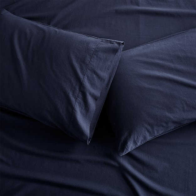 Set of 2 Brushed Navy Flannel Standard Pillowcases - Image 1 of 1