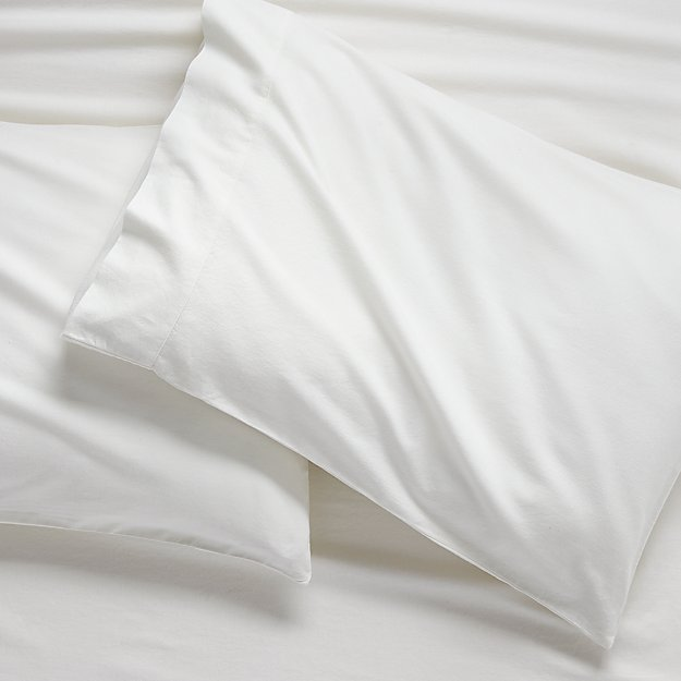 Set of 2 Brushed Natural Flannel Standard Pillowcases - Image 1 of 2