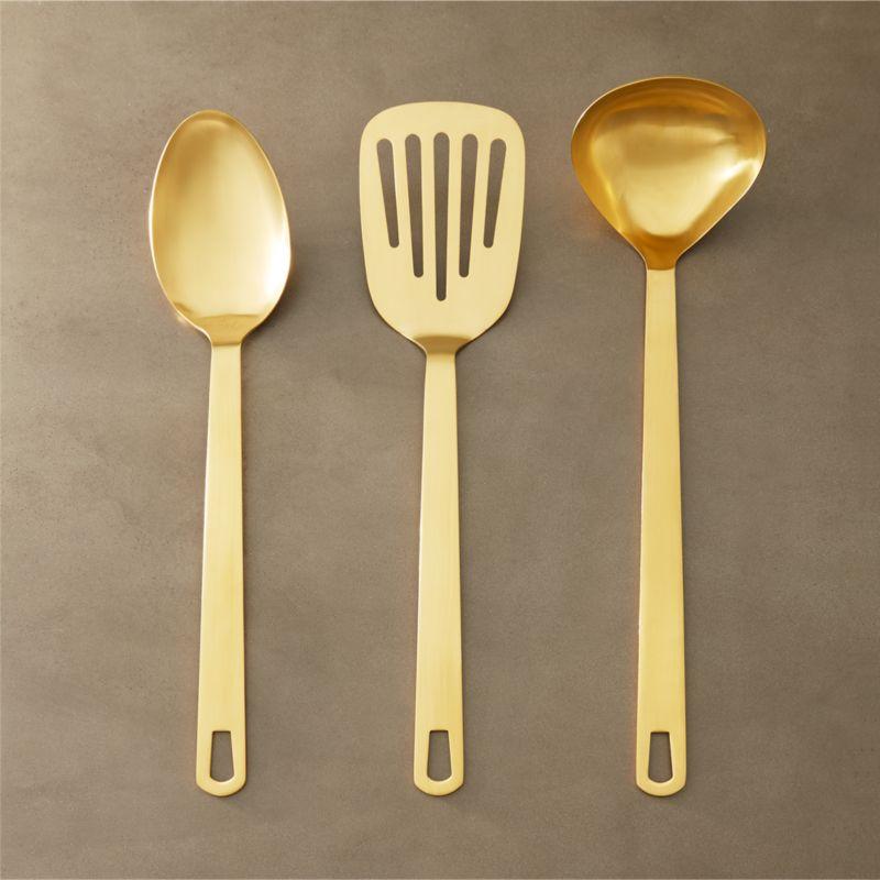 Cb2 Free Shipping >> Set of 3 Brushed Gold Kitchen Utensils + Reviews | CB2