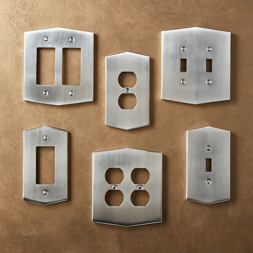 Hex Brushed Nickel Wall Plates
