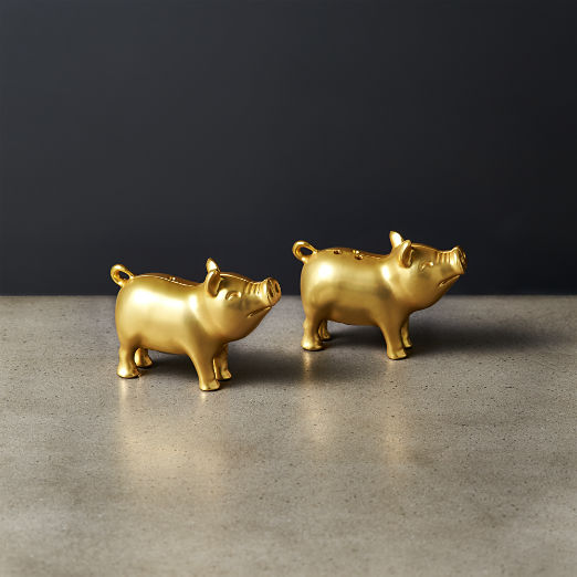 Bubba and Betty Lou Gold Pig Salt and Pepper Shaker Set