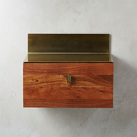 Build Acacia One Drawer Wall Mounted Cabinet Cb2