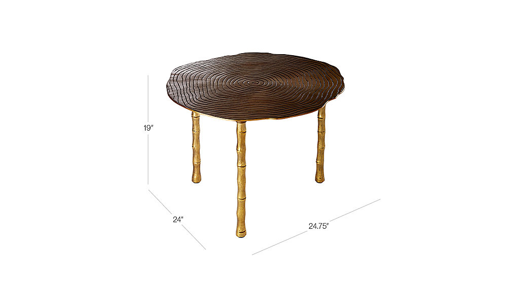 Charmant TAP TO ZOOM Image With Dimension For Bronze Bamboo Bunching Side Table