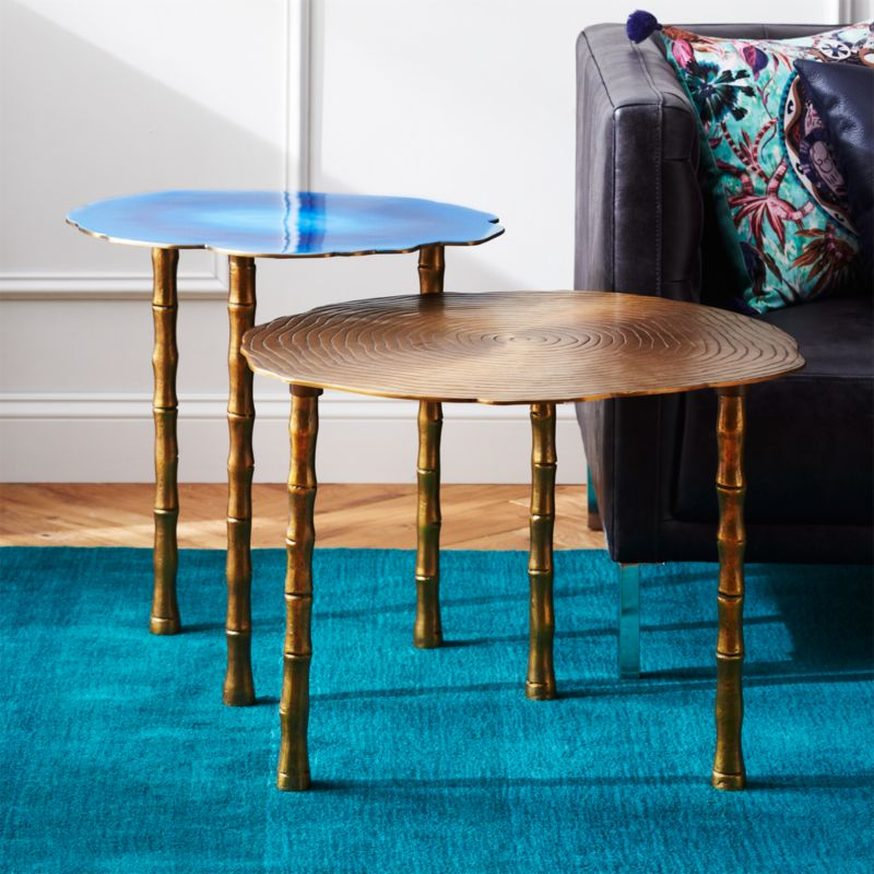 2 Piece Bronze And Atol Bamboo Bunching Side Table Set