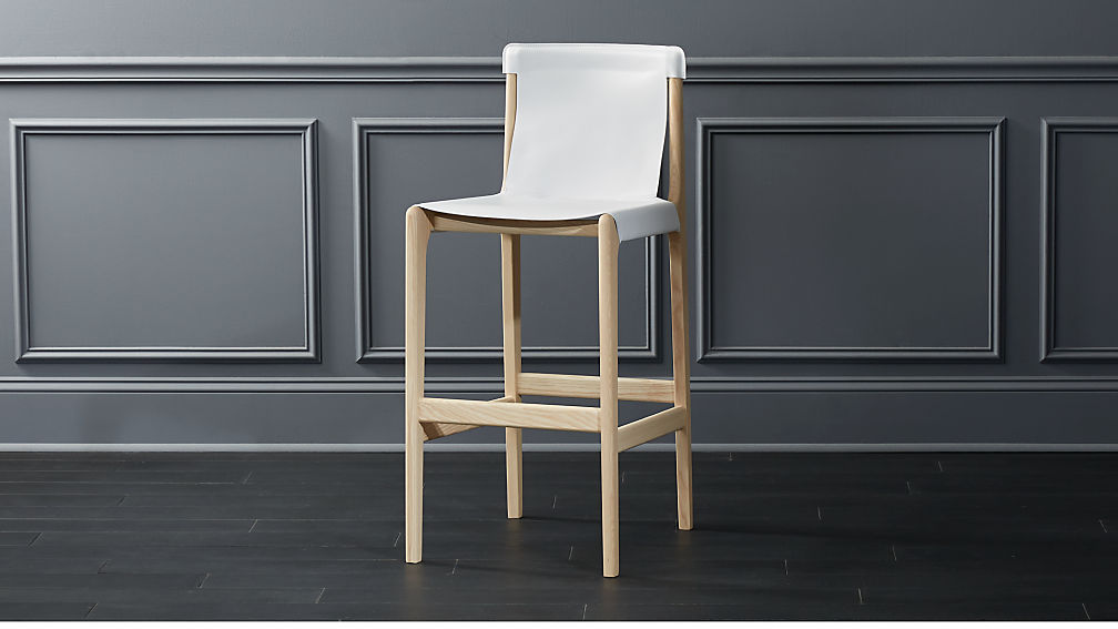 Burano White Leather Sling Bar Stool 30 Quot Reviews Cb2