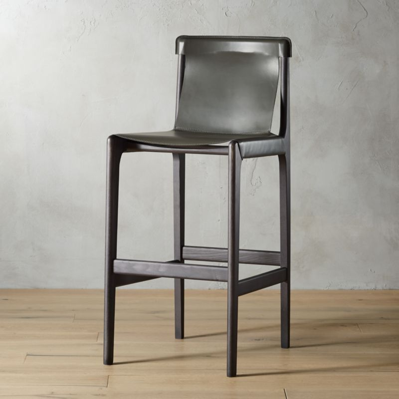 Magnificent Burano Charcoal Grey Leather Sling Bar Stool 30 Cb2 Short Links Chair Design For Home Short Linksinfo