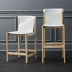 Burano White Leather Sling Bar Stools