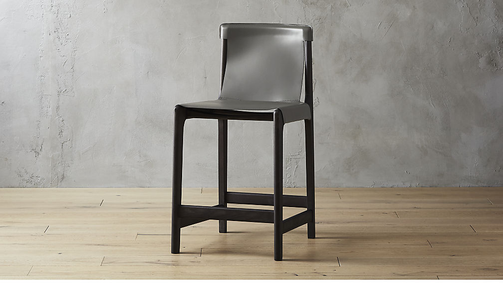 Burano Charcoal Grey Leather Sling Counter Stool 24
