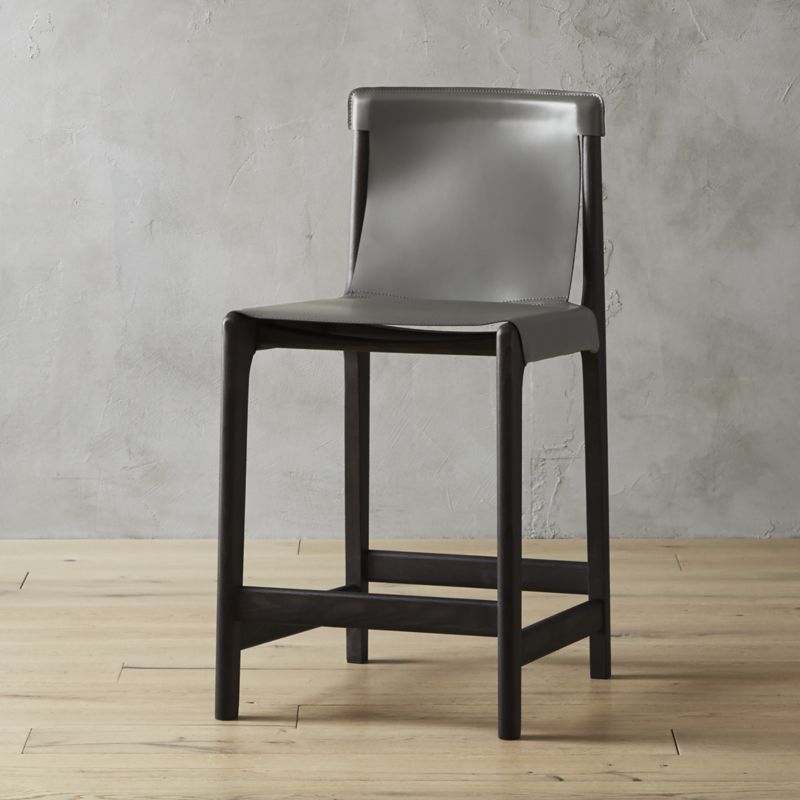 Fabulous Burano Charcoal Grey Leather Sling Counter Stool 24 Cb2 Short Links Chair Design For Home Short Linksinfo