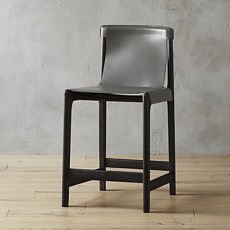 Magnificent Burano Charcoal Grey Leather Sling Counter Stool 24 Cb2 Ibusinesslaw Wood Chair Design Ideas Ibusinesslaworg