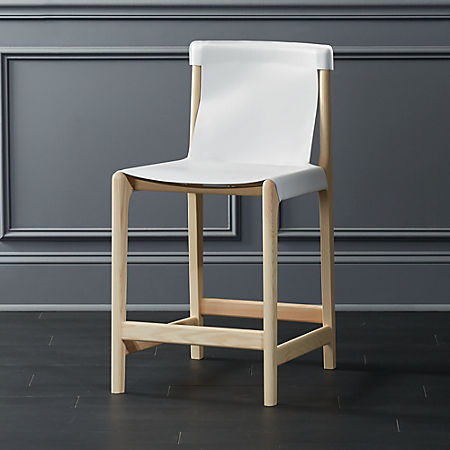 Astonishing Burano White Leather Sling Counter Stool 24 Uwap Interior Chair Design Uwaporg