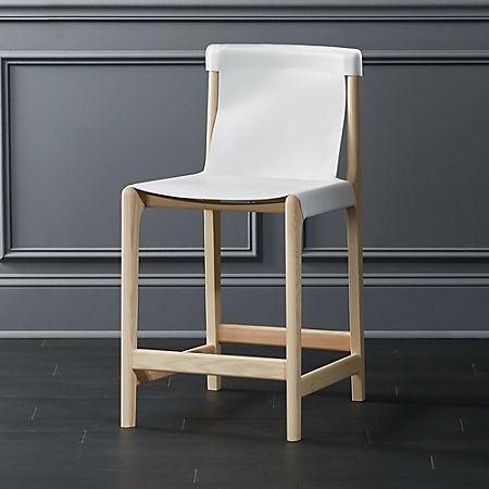 Pleasing Burano White Leather Sling Counter Stool 24 Uwap Interior Chair Design Uwaporg