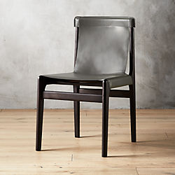 Burano Charcoal Grey Leather Sling Chair