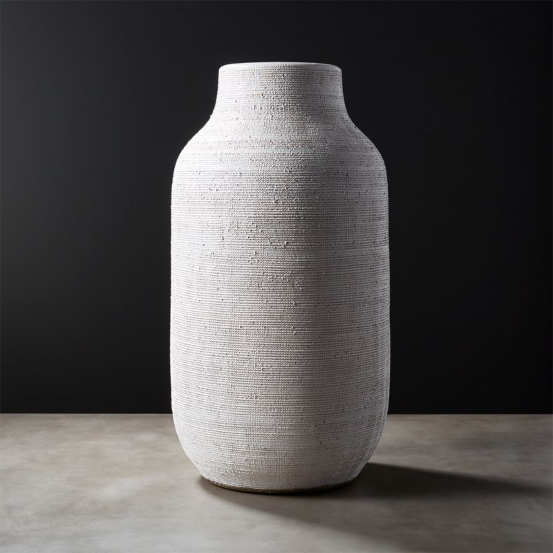Burlap White Vase by Crate&Barrel