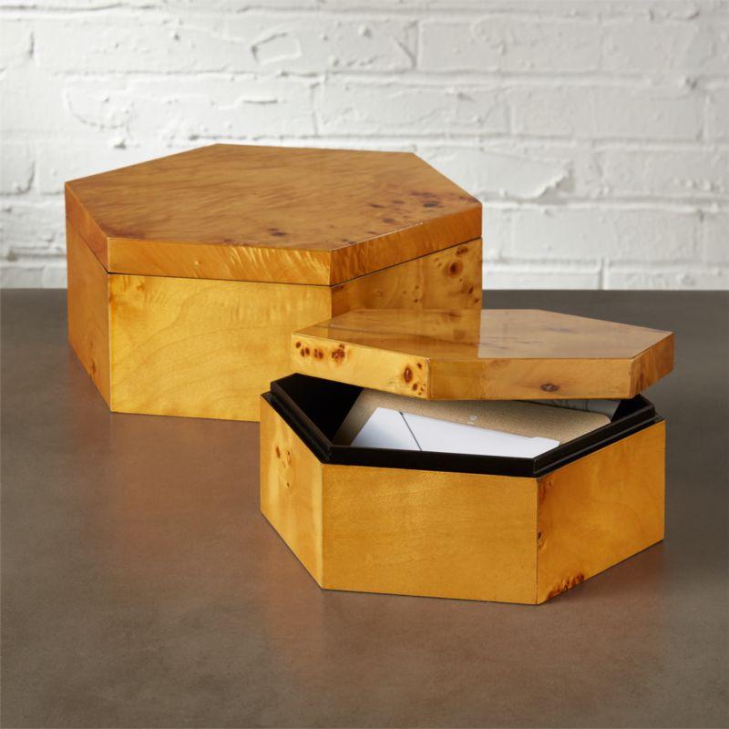 & burlwood wooden hexagon box | CB2