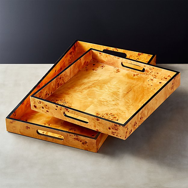 Burl Wood Serving Tray With Handles Cb2