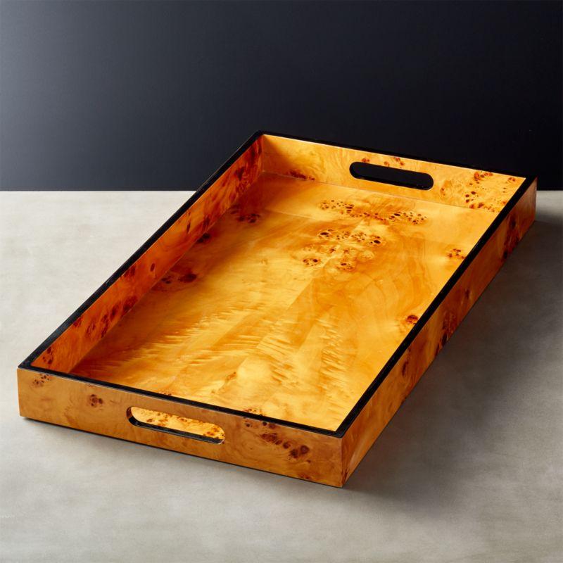 Burl Wood Rectangular Tray