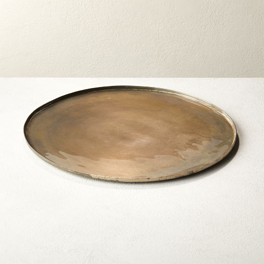 Burnish Antique Round Nickel Serving Platter