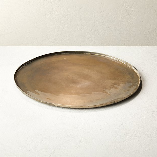 Burnish Antique Round Nickel Serving Platter - Image 1 of 5