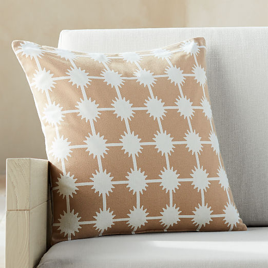 "20""x20"" Burst Outdoor Natural and White Pillow"