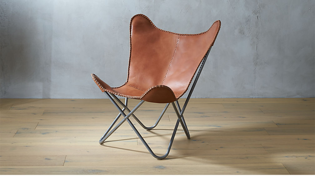 1938 Tobacco Leather Butterfly Chair Reviews Cb2