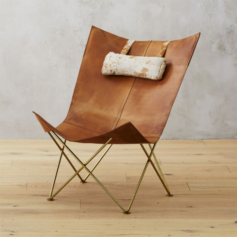 Genial Brown Leather Butterfly Chair With Hide Headrest