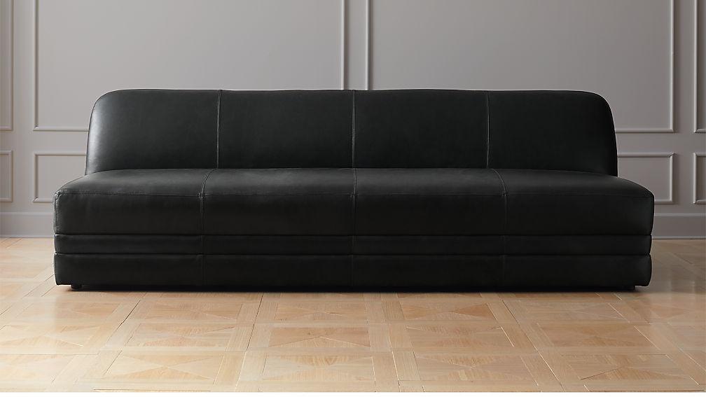 Cadet Black Leather Sofa + Reviews | CB2