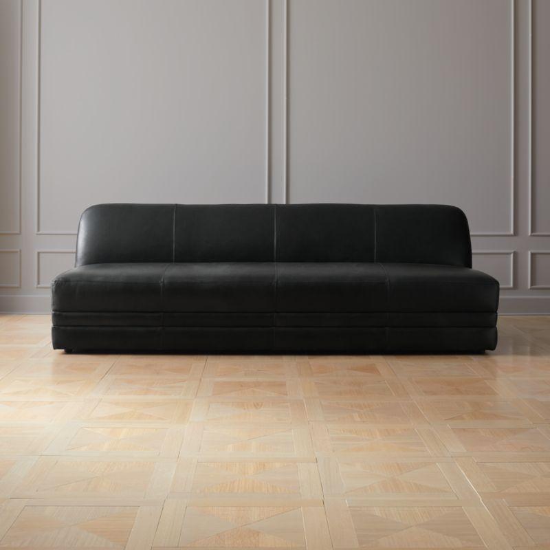 Cadet Black Leather Sofa Cb2