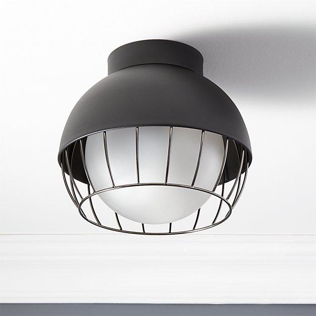 Cage black outdoor flush mount light reviews cb2 aloadofball Gallery