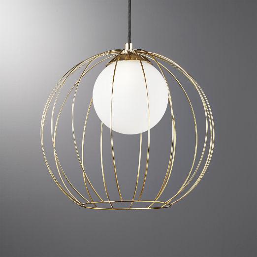 Cage Br Globe Pendant Light
