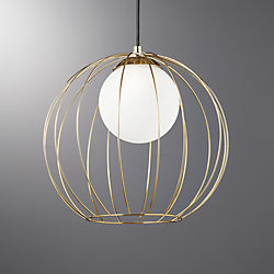 Cage Brass Globe Pendant Light & Contemporary Lighting and Lamps | CB2