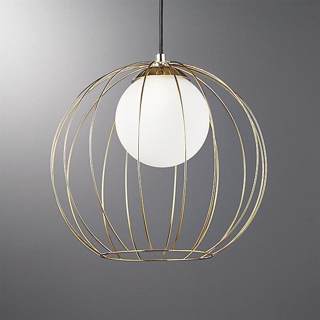 Cage Brass Globe Pendant Light + Reviews | CB2
