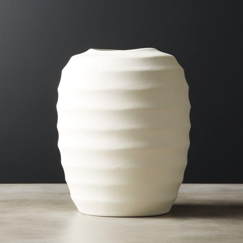 Camden Ivory Ceramic Vase by Crate&Barrel