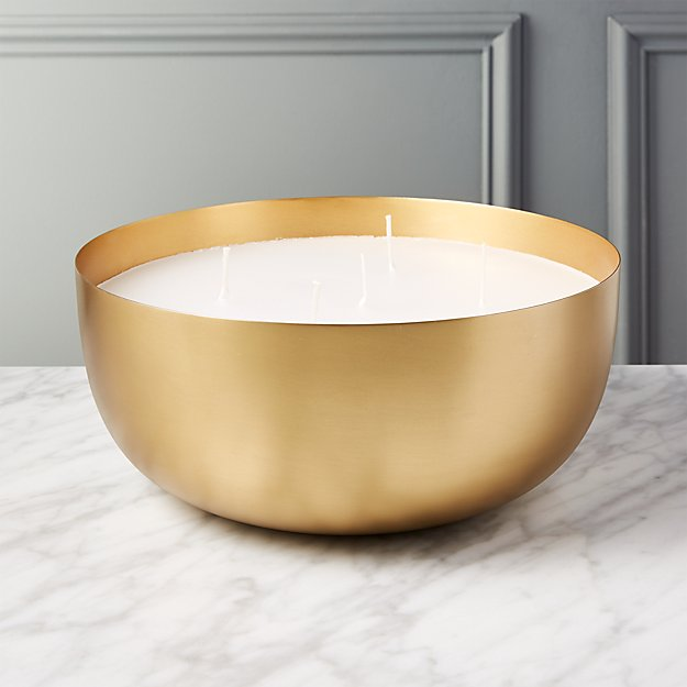 Large Brass Candle Bowl - Image 1 of 5