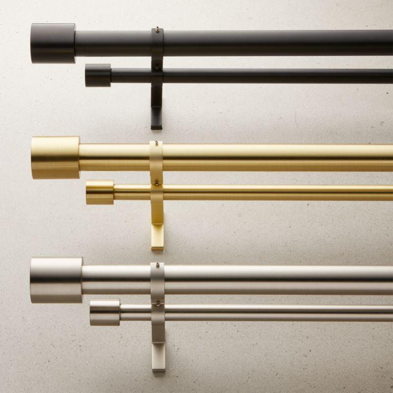 Cap Finial Double Rod Curtain Set Cb2